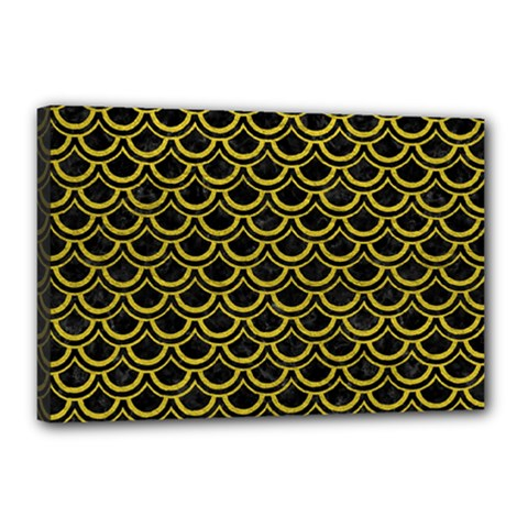 Scales2 Black Marble & Yellow Leather (r) Canvas 18  X 12