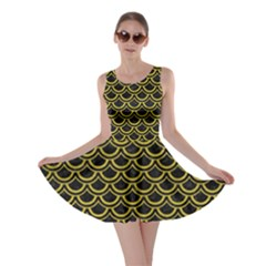 Scales2 Black Marble & Yellow Leather (r) Skater Dress