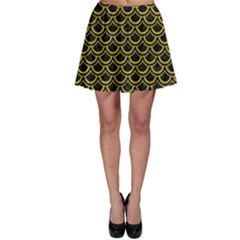 Scales2 Black Marble & Yellow Leather (r) Skater Skirt