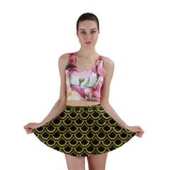 Scales2 Black Marble & Yellow Leather (r) Mini Skirt