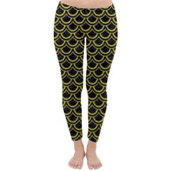 Scales2 Black Marble & Yellow Leather (r) Classic Winter Leggings