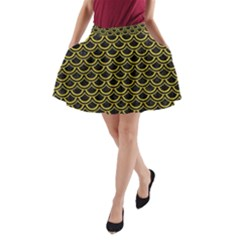 Scales2 Black Marble & Yellow Leather (r) A Line Pocket Skirt