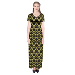 Scales2 Black Marble & Yellow Leather (r) Short Sleeve Maxi Dress
