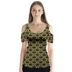 Scales2 Black Marble & Yellow Leather (r) Butterfly Sleeve Cutout Tee
