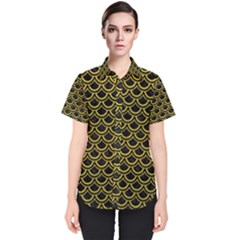 Scales2 Black Marble & Yellow Leather (r) Women s Short Sleeve Shirt