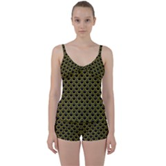 Scales2 Black Marble & Yellow Leather (r) Tie Front Two Piece Tankini