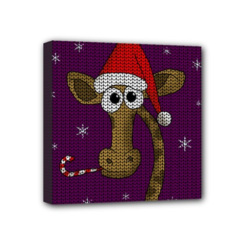 Christmas Giraffe  Mini Canvas 4  X 4