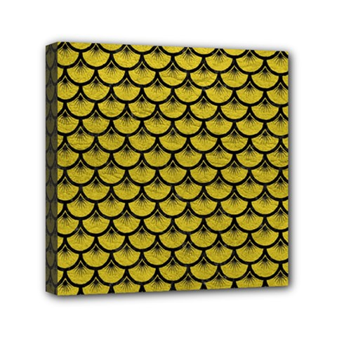 Scales3 Black Marble & Yellow Leather Mini Canvas 6  X 6