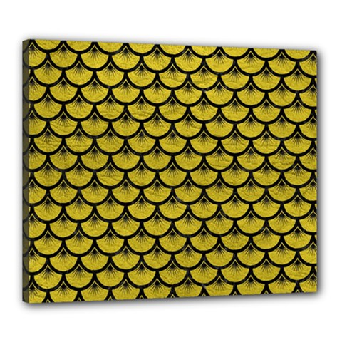 Scales3 Black Marble & Yellow Leather Canvas 24  X 20