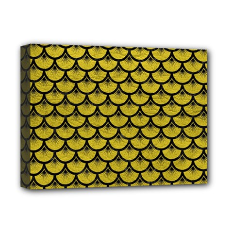 Scales3 Black Marble & Yellow Leather Deluxe Canvas 16  X 12