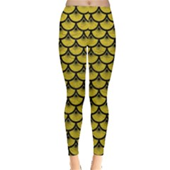 Scales3 Black Marble & Yellow Leather Leggings
