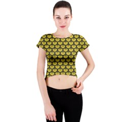 Scales3 Black Marble & Yellow Leather Crew Neck Crop Top