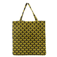 Scales3 Black Marble & Yellow Leather Grocery Tote Bag
