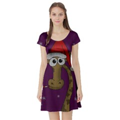 Christmas Giraffe  Short Sleeve Skater Dress