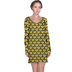 Scales3 Black Marble & Yellow Leather Long Sleeve Nightdress