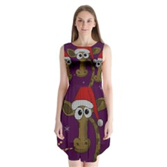 Christmas Giraffe  Sleeveless Chiffon Dress