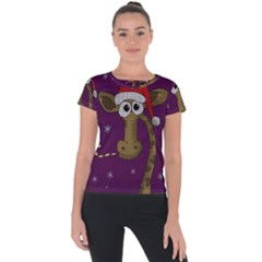 Christmas Giraffe  Short Sleeve Sports Top