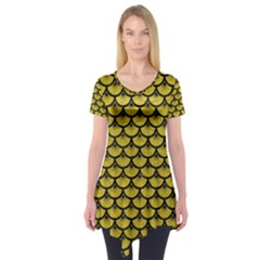 Scales3 Black Marble & Yellow Leather Short Sleeve Tunic