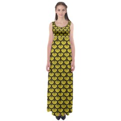 Scales3 Black Marble & Yellow Leather Empire Waist Maxi Dress