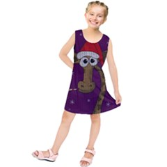 Christmas Giraffe  Kids  Tunic Dress