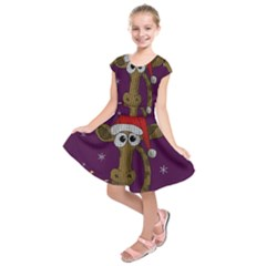 Christmas Giraffe  Kids  Short Sleeve Dress