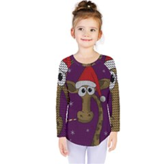 Christmas Giraffe  Kids  Long Sleeve Tee