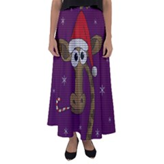 Christmas Giraffe  Flared Maxi Skirt