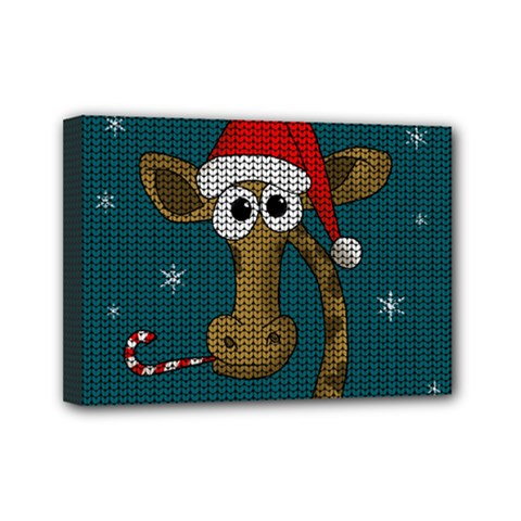 Christmas Giraffe  Mini Canvas 7  X 5