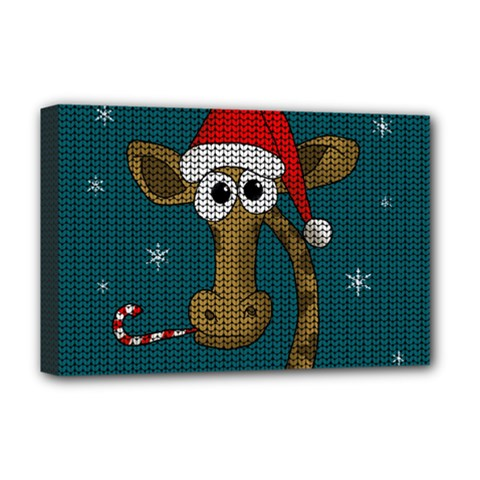 Christmas Giraffe  Deluxe Canvas 18  X 12