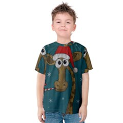Christmas Giraffe  Kids  Cotton Tee