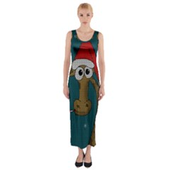 Christmas Giraffe  Fitted Maxi Dress