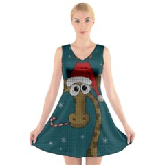 Christmas Giraffe  V Neck Sleeveless Skater Dress