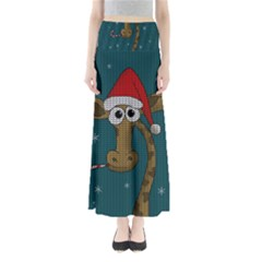 Christmas Giraffe  Full Length Maxi Skirt