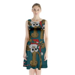 Christmas Giraffe  Sleeveless Waist Tie Chiffon Dress