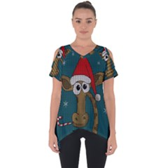 Christmas Giraffe  Cut Out Side Drop Tee