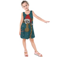 Christmas Giraffe  Kids  Sleeveless Dress