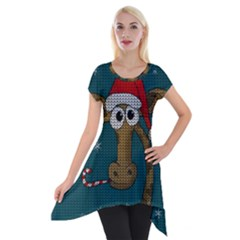 Christmas Giraffe  Short Sleeve Side Drop Tunic