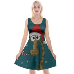 Christmas Giraffe  Reversible Velvet Sleeveless Dress