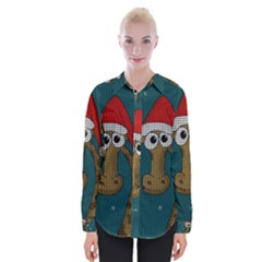 Christmas Giraffe  Womens Long Sleeve Shirt