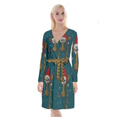Christmas Giraffe  Long Sleeve Velvet Front Wrap Dress