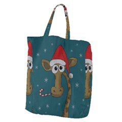 Christmas Giraffe  Giant Grocery Zipper Tote