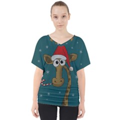Christmas Giraffe  V Neck Dolman Drape Top