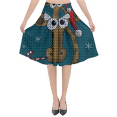 Christmas Giraffe  Flared Midi Skirt