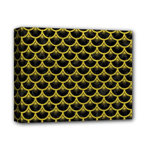 Scales3 Black Marble & Yellow Leather (r) Deluxe Canvas 14  X 11