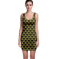Scales3 Black Marble & Yellow Leather (r) Bodycon Dress