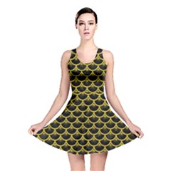 Scales3 Black Marble & Yellow Leather (r) Reversible Skater Dress