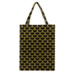 Scales3 Black Marble & Yellow Leather (r) Classic Tote Bag