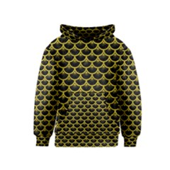 Scales3 Black Marble & Yellow Leather (r) Kids  Pullover Hoodie
