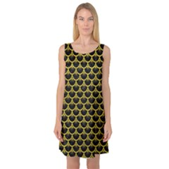 Scales3 Black Marble & Yellow Leather (r) Sleeveless Satin Nightdress