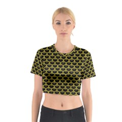 Scales3 Black Marble & Yellow Leather (r) Cotton Crop Top